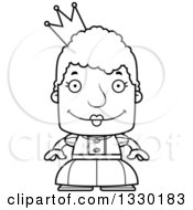 Lineart Clipart Of A Cartoon Black And White Happy Block Headed White Senior Woman Princess Or Queen Royalty Free Outline Vector Illustration by Cory Thoman