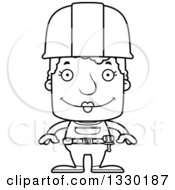 Cartoon Black And White Happy Block Headed White Senior Woman Construction Worker