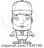 Lineart Clipart Of A Cartoon Black And White Happy Block Headed White Senior Woman Sports Coach Royalty Free Outline Vector Illustration