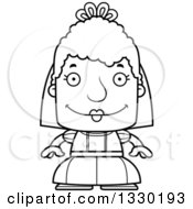 Lineart Clipart Of A Cartoon Black And White Happy Block Headed White Senior Woman Bride Royalty Free Outline Vector Illustration by Cory Thoman