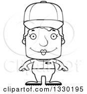 Lineart Clipart Of A Cartoon Black And White Happy Block Headed White Senior Woman Baseball Player Royalty Free Outline Vector Illustration