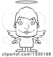 Lineart Clipart Of A Cartoon Black And White Happy Block Headed White Senior Woman Angel Royalty Free Outline Vector Illustration
