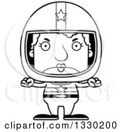 Lineart Clipart Of A Cartoon Black And White Mad Block Headed White Senior Woman Race Car Driver Royalty Free Outline Vector Illustration