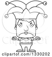 Lineart Clipart Of A Cartoon Black And White Mad Block Headed White Senior Woman Jester Royalty Free Outline Vector Illustration
