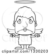 Lineart Clipart Of A Cartoon Black And White Mad Block Headed White Senior Woman Angel Royalty Free Outline Vector Illustration