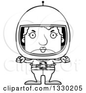 Lineart Clipart Of A Cartoon Black And White Mad Block Headed White Senior Woman Astronaut Royalty Free Outline Vector Illustration
