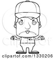 Lineart Clipart Of A Cartoon Black And White Mad Block Headed White Senior Woman Baseball Player Royalty Free Outline Vector Illustration