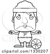 Lineart Clipart Of A Cartoon Black And White Mad Block Headed White Senior Woman Basketball Player Royalty Free Outline Vector Illustration