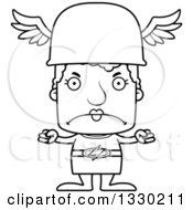 Lineart Clipart Of A Cartoon Black And White Mad Block Headed White Senior Woman Hermes Royalty Free Outline Vector Illustration