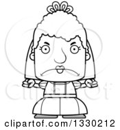 Lineart Clipart Of A Cartoon Black And White Mad Block Headed White Senior Woman Bride Royalty Free Outline Vector Illustration