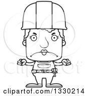 Lineart Clipart Of A Cartoon Black And White Mad Block Headed White Senior Woman Construction Worker Royalty Free Outline Vector Illustration