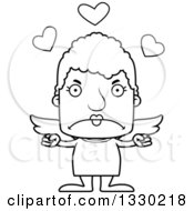 Lineart Clipart Of A Cartoon Black And White Mad Block Headed White Senior Woman Cupid Royalty Free Outline Vector Illustration