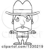 Lineart Clipart Of A Cartoon Black And White Mad Block Headed White Senior Woman Cowgirl Royalty Free Outline Vector Illustration