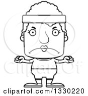 Lineart Clipart Of A Cartoon Black And White Mad Block Headed Fit White Senior Woman Royalty Free Outline Vector Illustration