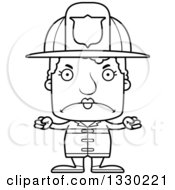 Lineart Clipart Of A Cartoon Black And White Mad Block Headed White Senior Woman Firefighter Royalty Free Outline Vector Illustration