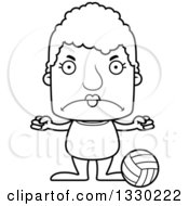 Lineart Clipart Of A Cartoon Black And White Mad Block Headed White Senior Woman Beach Volleyball Player Royalty Free Outline Vector Illustration