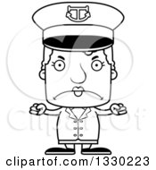 Lineart Clipart Of A Cartoon Black And White Mad Block Headed White Senior Woman Boat Captain Royalty Free Outline Vector Illustration