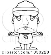 Lineart Clipart Of A Cartoon Black And White Mad Block Headed White Senior Woman Lifeguard Royalty Free Outline Vector Illustration