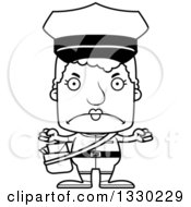 Lineart Clipart Of A Cartoon Black And White Mad Block Headed White Senior Mail Woman Royalty Free Outline Vector Illustration