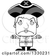Lineart Clipart Of A Cartoon Black And White Mad Block Headed White Pirate Senior Woman Royalty Free Outline Vector Illustration