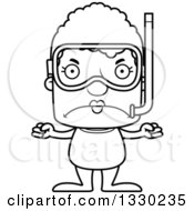 Lineart Clipart Of A Cartoon Black And White Mad Block Headed White Senior Woman In Snorkel Gear Royalty Free Outline Vector Illustration
