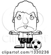 Lineart Clipart Of A Cartoon Black And White Mad Block Headed White Senior Woman Soccer Player Royalty Free Outline Vector Illustration