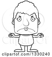 Lineart Clipart Of A Cartoon Black And White Mad Block Headed White Senior Woman Swimmer Royalty Free Outline Vector Illustration