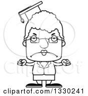 Cartoon Black And White Mad Block Headed White Senior Woman Professor