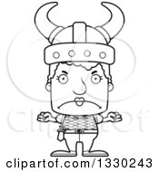 Lineart Clipart Of A Cartoon Black And White Mad Block Headed White Viking Senior Woman Royalty Free Outline Vector Illustration