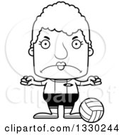 Lineart Clipart Of A Cartoon Black And White Mad Block Headed White Senior Woman Volleyball Player Royalty Free Outline Vector Illustration