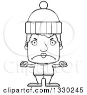 Lineart Clipart Of A Cartoon Black And White Mad Block Headed White Senior Woman In Winter Clothes Royalty Free Outline Vector Illustration