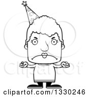 Lineart Clipart Of A Cartoon Black And White Mad Block Headed White Senior Woman Wizard Royalty Free Outline Vector Illustration