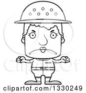Lineart Clipart Of A Cartoon Black And White Mad Block Headed White Senior Woman Zookeeper Royalty Free Outline Vector Illustration