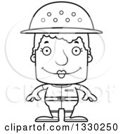 Lineart Clipart Of A Cartoon Black And White Happy Block Headed White Senior Woman Zookeeper Royalty Free Outline Vector Illustration
