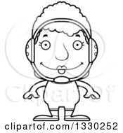 Lineart Clipart Of A Cartoon Black And White Happy Block Headed White Senior Woman Wrestler Royalty Free Outline Vector Illustration