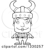Lineart Clipart Of A Cartoon Black And White Happy Block Headed White Viking Senior Woman Royalty Free Outline Vector Illustration