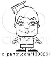 Cartoon Black And White Happy Block Headed White Senior Woman Professor