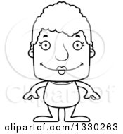 Lineart Clipart Of A Cartoon Black And White Happy Block Headed White Senior Woman Swimmer Royalty Free Outline Vector Illustration