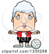 Clipart Of A Cartoon Mad Block Headed White Senior Woman Volleyball Player Royalty Free Vector Illustration by Cory Thoman