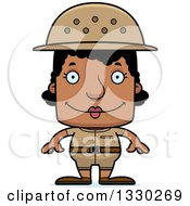 Clipart Of A Cartoon Happy Block Headed Black Woman Zookeeper Royalty Free Vector Illustration