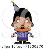 Cartoon Happy Block Headed Black Woman Wizard