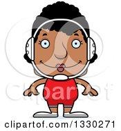 Clipart Of A Cartoon Happy Block Headed Black Woman Wrestler Royalty Free Vector Illustration
