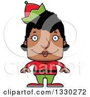 Clipart Of A Cartoon Happy Block Headed Black Woman Christmas Elf Royalty Free Vector Illustration