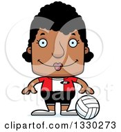 Clipart Of A Cartoon Happy Block Headed Black Woman Volleyball Player Royalty Free Vector Illustration