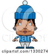 Cartoon Happy Block Headed Black Woman In Winter Clothes