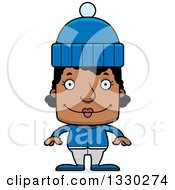 Clipart Of A Cartoon Happy Block Headed Black Woman In Winter Clothes Royalty Free Vector Illustration