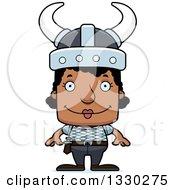 Clipart Of A Cartoon Happy Block Headed Black Woman Viking Royalty Free Vector Illustration
