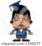 Cartoon Happy Block Headed Black Woman Professor