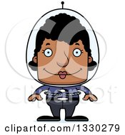 Clipart Of A Cartoon Happy Block Headed Black Futuristic Space Woman Royalty Free Vector Illustration