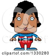 Clipart Of A Cartoon Happy Block Headed Black Woman Super Hero Royalty Free Vector Illustration